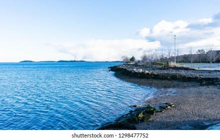 Boston Harbor shoreline along the coast