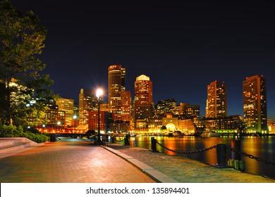Boston Harborwalk and Cityscape at Night