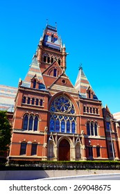 Boston Harvard University historic building in Cambridge at Massachusetts