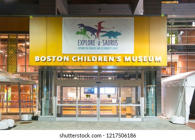 BOSTON - JUL.6, 2018: Children's Museum entrance at night in South Boston, Boston, Massachusetts, USA.