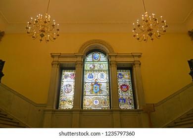 BOSTON - JUN. 11, 2014: Main Staircase Window in Massachusetts State House, Boston Beacon Hill, Massachusetts, USA.
