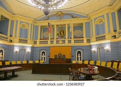 BOSTON - JUN. 11, 2014: Massachusetts State House Senate Chamber, Boston Beacon Hill, Massachusetts, USA.