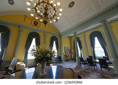 BOSTON - JUN. 11, 2014: Massachusetts State House Senate Reception Room, Boston Beacon Hill, Massachusetts, USA.