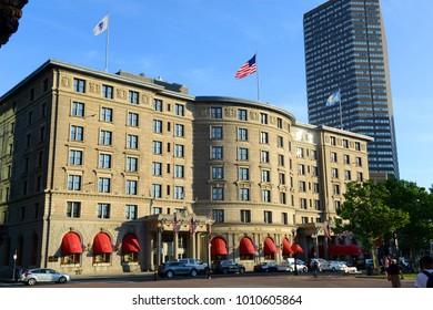 BOSTON - JUN. 13, 2015: Fairmont Copley Plaza Hotel on 138 St. James Avenue in Copley Square in Boston, Massachusetts, USA.