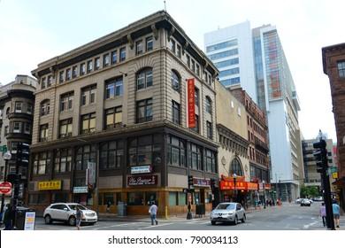 BOSTON - JUN. 13, 2015: Historic Buildings at the corner of Beach Street and Washington Street in Chinatown Boston, Massachusetts, USA.