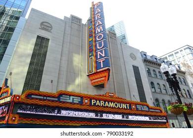 BOSTON - JUN. 13, 2015: Boston Paramount Theatre on 559 Washington Street in downtown Boston, Massachusetts, USA. This Art Deco building was built in 1932.