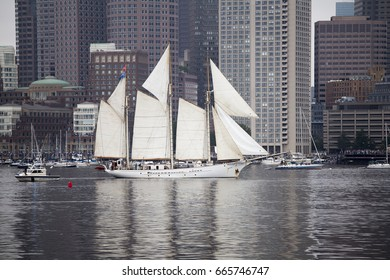BOSTON - JUNE 17, 2017: Europa of the Netherlands sails in the Grand Parade of Sail at the 2017 Sail Boston Festival, part of the Rendez-vous 2017 Tall Ships Regatta.