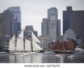 BOSTON - JUNE 17, 2017: Europa of the Netherlands (left) Roseway (right) USA sails in the Grand Parade of Sail at the 2017 Sail Boston Festival, part of the Rendez-vous 2017 Tall Ships Regatta.