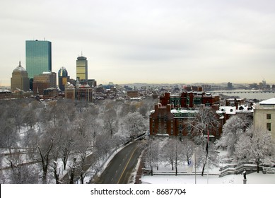 boston landscape after a snowstorm, can see beacon street, boston commons, skyscrapers, charles river