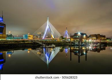 Boston Leonard P. Zakim Bunker Hill Memorial Bridge at night in Bunker Hill Massachusetts, USA.
