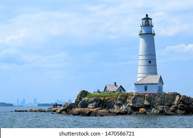 Boston Light on Little Brewster Island  Boston Harbor Massachusetts