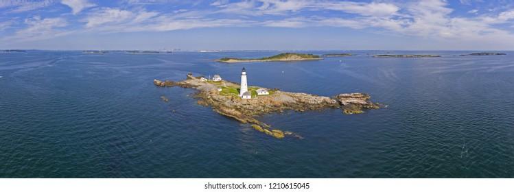 Boston Lighthouse panorama on Little Brewster Island in Boston Harbor, Boston, Massachusetts, USA.
