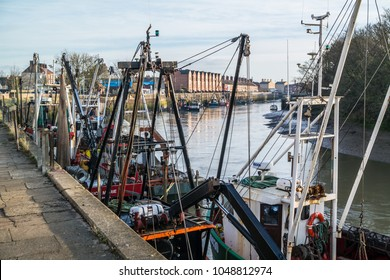 Boston, Lincolnshire, UK. 03/14/2018. Boats on the River Haven at Boston.