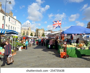 BOSTON, LINCOLNSHIRE, UK. SEPTEMBER 19, 2012. The open air market in the center of Boston, Lincolnshire, UK.