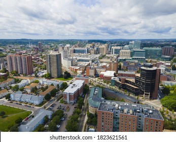 Boston Longwood Medical and Academic Area aerial view in Boston, Massachusetts MA, USA. This area including Beth Israel Deaconess Medical Center, Children's Hospital, Dana Farber Cancer Institute, etc