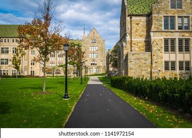 Boston, MA - 10/16/16: A quiet college campus in fall