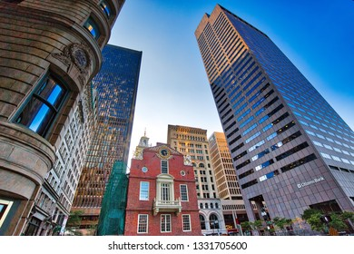 Boston, MA, USA–October 16, 2017: Massachusetts Old State House building, a landmark attraction frequently visited by numerous tourists