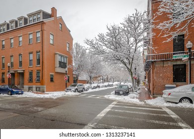 Boston, MA - 3/8/18: The South End is covered in snow the morning after a storm.