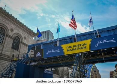 Boston, MA - 4/14/19: A media bridge crosses Boylston St at the finish line on the weekend before the running of the Boston Marathon