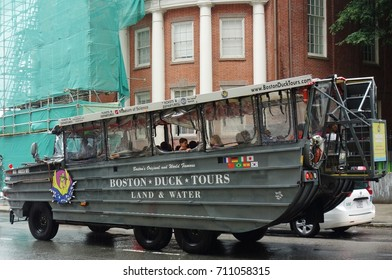 BOSTON, MA -5 AUG 2017-  A Boston Duck Tour land and water amphibious duck vehicle tour for tourists in Boston, Massachusetts.