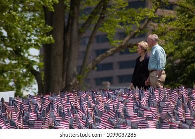 Boston, Ma, 5/26/2018. Senator Warren walking around the Flag Memorial in Boston Common with the Husaband. Memorial Day Weekend 2018 Tribute