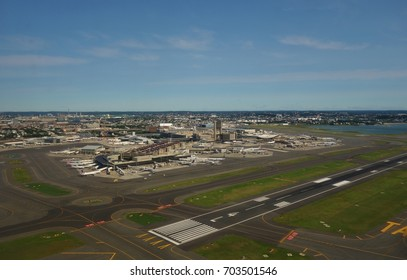 BOSTON, MA -6 AUG 2017- View of the Boston Logan International Airport (BOS) in Boston, Massachusetts.