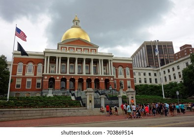 BOSTON, MA -6 AUG 2017- Exterior view of the Massachusetts State House capitol building under stormy clouds. It is located in the Beacon Hill downtown neighborhood in Boston.