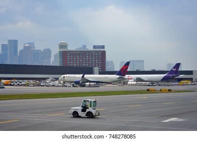 BOSTON, MA -6 AUG 2017- View of the Boston Logan International Airport (BOS) in Boston, Massachusetts.