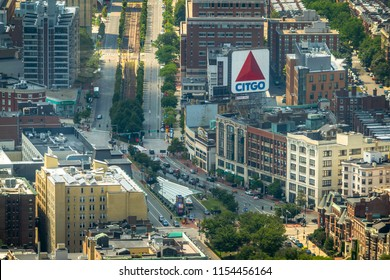 Boston, MA - 8/5/18: Commonwealth Ave through Kenmore Square from above