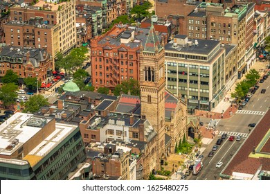 Boston, MA - 8/5/18: Looking down on a Copley Square landmark church, on a warm summer day.