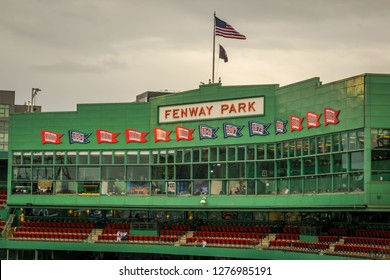 Boston, MA - 9/30/18: The press box at historic Fenway Park, with banners representing the team's division and World Series championships