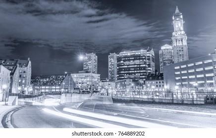 Boston, MA. Beautiful night skyline on a autumn evening.