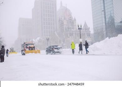 BOSTON, MA - JANUARY 27, 2015: Boston Massachusetts during winter storm Juno on January 27th, 2015.