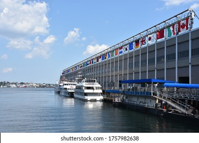 BOSTON, MA - JUL 28: Seaport World Trade Center in Boston, as seen on July 28, 2019. The building is located on the Boston waterfront at Commonwealth Pier, in the South Boston neighborhood.