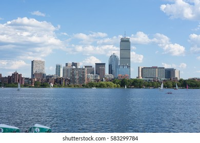 Boston, MA - JuLy 23, 2016: People Sailing in Charles River in Summer