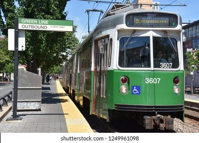 BOSTON, MA - JUN 16: MBTA Green Line Surface-Level Trolley Stop at Northeastern University in Boston, Massachusetts, on Jun 16, 2018. It is adjacent to Krentzman Quad on the campus of the University.