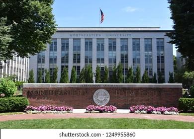 BOSTON, MA - JUN 16: Northeastern University in Boston, Massachusetts, as seen on Jun 16, 2018. It is a private research university established in 1898.