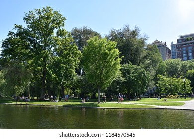 BOSTON, MA - JUN 16: Public Garden in Boston, Massachusetts, as seen on Jun 16, 2018.  It is a part of the Emerald Necklace system of parks and was the first public botanical garden in America.