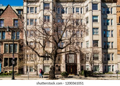 BOSTON, MA - MARCH 19: Building facade on Commonwealth Ave, on March 19, 2016 in Boston, USA