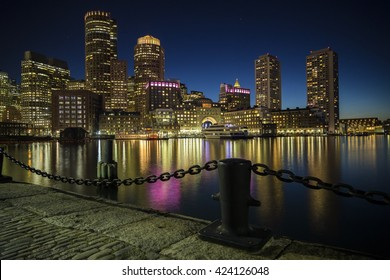 BOSTON, MA - MAY 16: Night time view of the skyline as seen from Fan Pier Park on May 16, 2016 in Boston, Massachusetts.