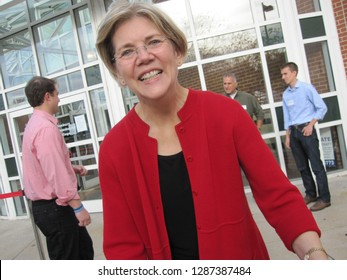 Boston MA, Nov 13 2011. Rally for Elizabeth Warren's senate campaign volunteers, Reggie Lewis Track and Athletic Center, Roxbury. Warren greeted and shook hands with each of about 1000 attendees.