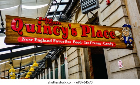 Boston, MA - Oct. 21, 2014: Quincy's Place - a family Ice Cream Parlor, Candy Shop and Eatery in the heart of Quincy Market, Boston, MA.