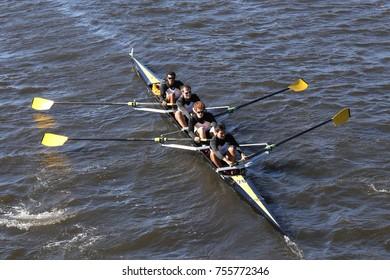 BOSTON, MA - OCTOBER 23, 2016: Georgia Tech  races in the Head of Charles Regatta Men's Collegiate Fours [PUBLIC RACE]