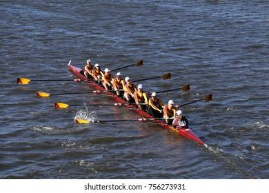 BOSTON, MA - OCTOBER 23, 2016: Arlington races in the Head of Charles Regatta Men's Youth Eights [PUBLIC RACE]