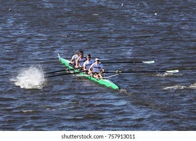 BOSTON, MA - OCTOBER 23, 2016: Notre Dame races in the Head of Charles Regatta Men's Collegiate Fours [PUBLIC RACE]