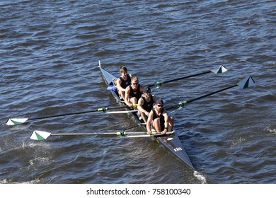 BOSTON, MA - OCTOBER 23, 2016: Binghamton races in the Head of Charles Regatta Men's Collegiate Fours [PUBLIC RACE]