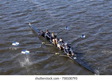 BOSTON, MA - OCTOBER 23, 2016: Connecticut races in the Head of Charles Regatta Men's Collegiate Fours [PUBLIC RACE]