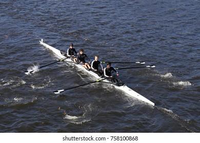 BOSTON, MA - OCTOBER 23, 2016: Bowdoin races in the Head of Charles Regatta Men's Collegiate Fours [PUBLIC RACE]
