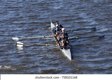 BOSTON, MA - OCTOBER 23, 2016: Tufts University races in the Head of Charles Regatta Men's Collegiate Fours [PUBLIC RACE]