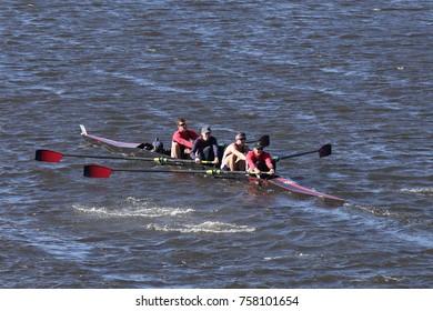 BOSTON, MA - OCTOBER 23, 2016: NY Maritime races in the Head of Charles Regatta Men's Collegiate Fours [PUBLIC RACE]